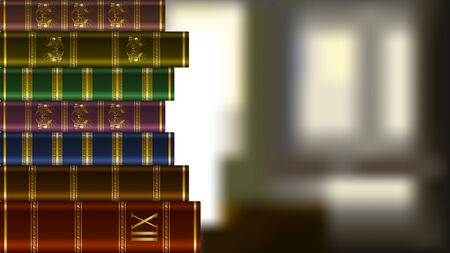 Stack of old expensive books with gold patterns on a blurred background. Realistic Vector, illustration.