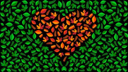 Heart of autumn orange leaves on a green leaves background. Vector, Illustration.