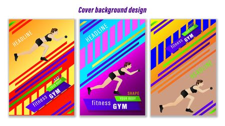 Set cover Fitness Gym colorful geometrics shapes. Young woman performs an exercise. Vector Illustration Stock Illustratie
