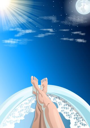 Women's feet, legs in the bathtub, first person view, against the blue sky, sun and moon, day and night in the background. Vector illustration. Standard-Bild - 132222352