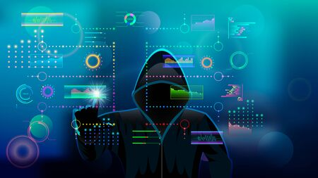 Hacker, hooded man in black hood. Holographic HUD UI for business app. Futuristic user interface set web elements. Virtual graphic touch user interface. Infographic interface. Vector Illustration