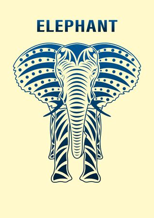 Standing ornament Elephant front view, isolated on background. Vector illustration.