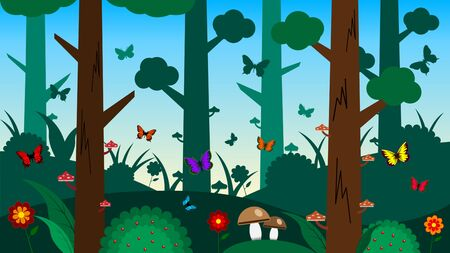 Beautiful fabulous summer green forest with butterflies, mushrooms and flowers on a blue sky background. Cartoon flat style vector illustration. Stock Illustratie