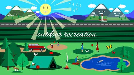 Family outdoor recreation. Camping nature landscape. Trip to the picnic. Flat style vector illustration. Stock Illustratie