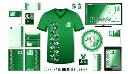 Corporate identity design. set template business branding, green color ornament mockup design with logo elements isolated on background. Vector, illustration