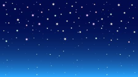 Dark blue night starry sky background. Colorful bright stars. Cosmic space vector illustration.