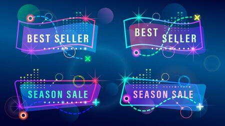 Set Sale banners colorful holographic light effects, transparent gradient elements. Futuristic vector illustration.
