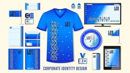 Corporate identity design. set template business branding, blue color ornament mockup design with logo elements isolated on background. Vector, illustration