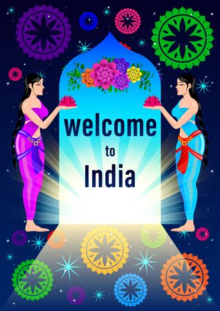 Welcome to India poster. two young Indian women in national dress Sari meet at the arch with flowers against the starry sky and the sun. Vector Illustration.