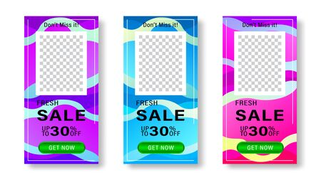 Set of dynamic fluids modern background with place for photo. Banner for social media stories, web page, mobile phone. Sale template design special offer. Vector illustration.