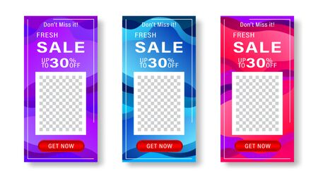 Set of dynamic gradient fluids modern background with place for photo. Banner for social media stories, web page, mobile phone. Sale template design special offer. Vector illustration. Stock Illustratie