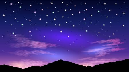 Colorful night starry sky and pink clouds. The glow on the horizon of hills. Beautiful early dawn or late sunset. Realistic landscape vector illustration. Stock Illustratie