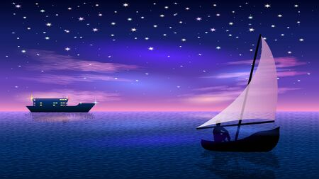 boat at Night starry sky and pink clouds Vectores