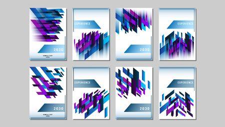Set cover blue and purple gradient geometric shapes rectangle design