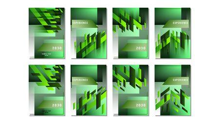 Set cover green gradient geometric shapes rectangle design