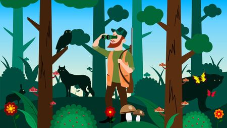 Hunter looks through binoculars in the forest Ilustração