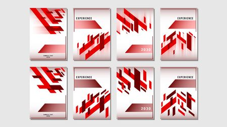 Set cover red gradient geometric shapes design