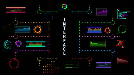 HUD, colorful virtual infographic screen isolated on background