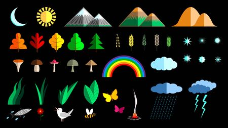 Set Nature flat colorful elements for the composition of the landscape isolated Vectores