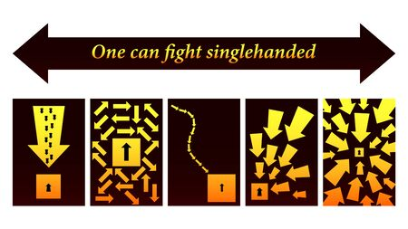 Grafic arrows, One can fight singlehanded. vector Vectores