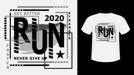 Slogan Sport run lettering monochrome print t-shirt graphics.