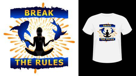 Slogan Break the Rules yellow lettering print white T-shirt.