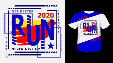 Slogan Sport run lettering colorful print white t-shirt graphics.