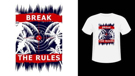 Slogan Break the Rules red lettering print white T-shirt. Vectores