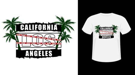 Inscription California Los-Angeles print shirt. Vector illustration.