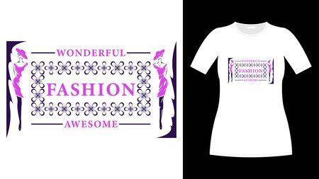 Purple lettering fashion print white t-shirt vector