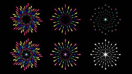 Set colorful round firework, splash isolated on black background.
