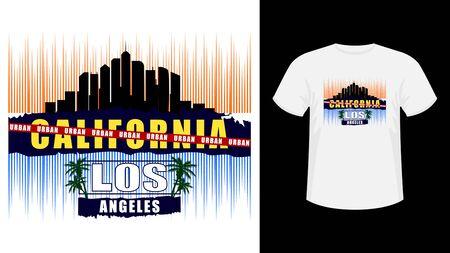 Inscription California Los Angeles skyscrapers print shirt.