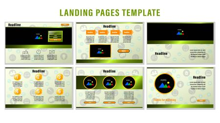 Set Landing pages with gradient metal green rectangular strips and orange color elements, photo frames template with the background of the icons. Business presentation vector illustration.