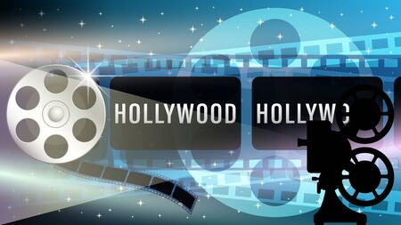 Hollywood web banner, film strip frame, metal movie reel, light effects, silhouette of a movie projector on dark blue starry sky. Realistic 3d vector illustration.