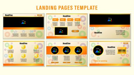 Set Landing pages with gradient orange rectangular strips and elements, photo frames template with the background of the circular ornament. Business presentation vector illustration. Vectores
