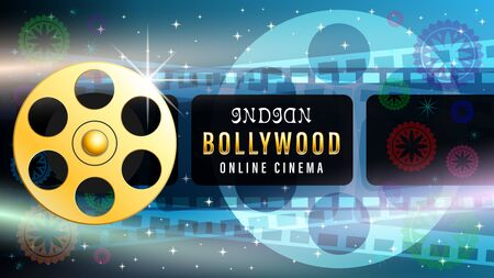 Bollywood indian web banner, film strip frame, gold metal movie reel, light effects, silhouette of a movie projector on dark blue starry sky. Realistic 3d vector illustration.