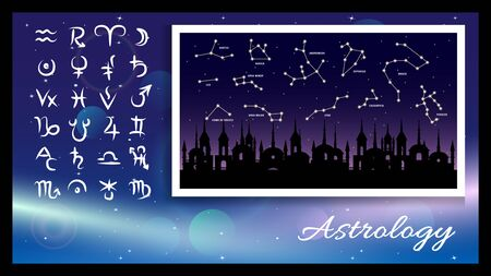 astrology signs, symbols on a light effect and dark blue background, constellation on a old city and night starry sky background. Vector illustration. Vectores