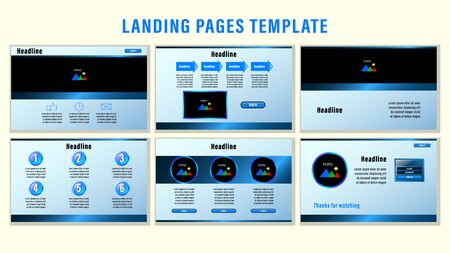 Set Landing pages with gradient metal blue rectangular strips and elements, photo frames template with the background. Business presentation vector illustration.