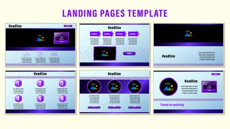 Set Landing pages with gradient purple rectangular strips and elements, photo frames template with the background the pattern of contour corners. Business presentation vector illustration.