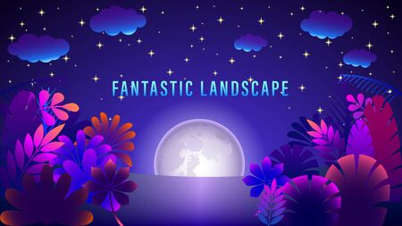 Fantastic landscape. Moon in the night starry sky. Fabulous colorful plants. Gradient purple and pink colors on picture. Flat style vector illustration.