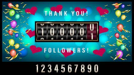 Mechanical counter 100000 followers Greeting banner 3d vector