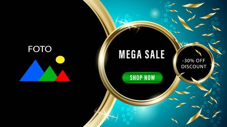 Mega sale, advertising banner photo frames in the form of gold rings, golden confetti falls, air bubbles under water. Realistic 3d vector illustration.
