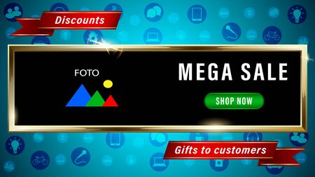 Mega sale, advertising banner photo frames in the form of gold rectangle, red ribbons, different icons on a blue background. Realistic 3d vector illustration.