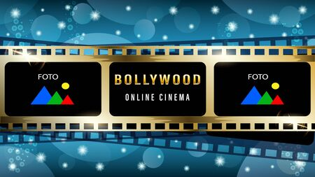 Bollywood indian web banner, gold movie film strip frame, light effects, stars on a dark blue background. Realistic 3d vector illustration.