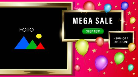 Mega sale, advertising banner photo frames in the form of gold rectangles, golden stars, colorful balloons on a red background. Realistic 3d vector illustration.