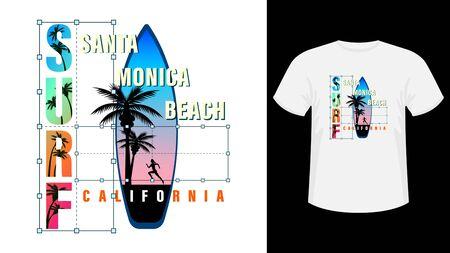 Colorful inscription California, Santa Monica beach surf print white t-shirt