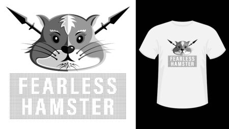 Head fearless hamster cartoon picture print shirt Vetores