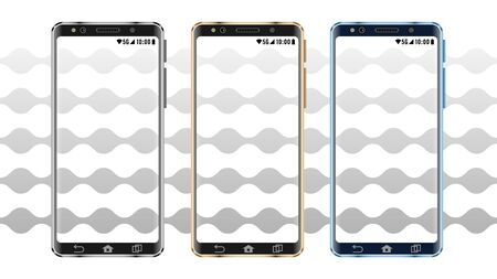 Set realistic smartphone in metal frame with blank screen Vectores