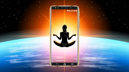 Realistic smartphone in outer space. Silhouette of a woman
