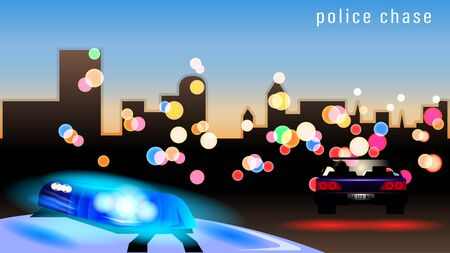 Police car flashing light on evening bokeh city background